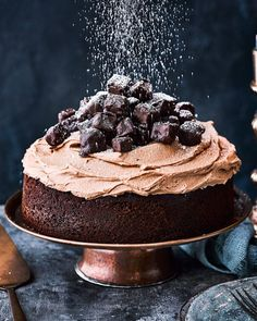 This chocolate and gingerbread Christmas cake recipe more than matches a classic fruitcake in the seasonal flavour stakes, plus you can make ahead of time. Christmas Cake Decorations, Holiday Cakes, Gingerbread Decorations, Mini Cakes, Cupcake Cakes, Cupcakes, Layer Cake Recipes, Delicious Magazine, Christmas Cooking