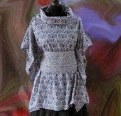 Tunique ample bleu indigo à motifs manches papillon en coton block print