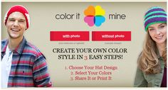Design your own hat! Choose your pattern and colors, and see how it will look like on!