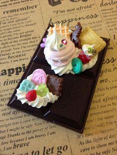 Sweet deco Chocolate Bar Mirror Polymer clay  by SweetieTiny, $9.99