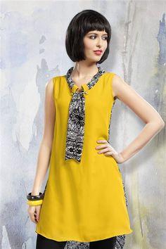 Yellow Georgette Casual Wear Kurti
