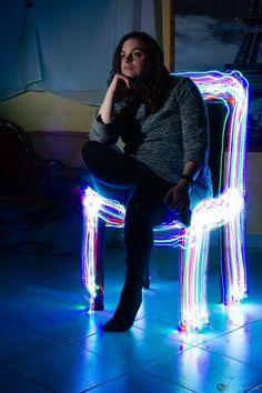 """Photo """"Chaise Lumineuse"""" - Portrait - Light Painting.  Bonjour,  Une nouvelle photo avec la technique  Light Painting mise en avant. Afin de passer ces temps de confinement difficile pour certains, j'ai décidé de vous partager la photo """"Chaise Lumineuse"""" afin que votre journée soit radieuse....   #femme #Lightpainting #lumière #photo #Portrait #PortraitdeFemme Photo Portrait, Light Painting, Afin, Photos, Bonjour, Photography, Pictures"""