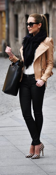 White tee + Black skinny trousers + b&w courts + camel leather jacket + black scarf + black tote