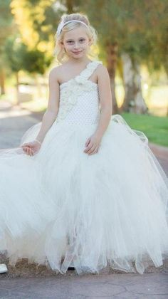 Formal Flower Girl One Shoulder Tutu Dress with Shabby Flowers rhinestones pearls satin by 1583Designs wedding special event occasion tulle ivory any colors portraits birthday custom