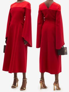 Red Dress for Autum Wedding Guest 2021. Dress for an Autumn Wedding 2021. Red Wedding Guest Dress 2021. Autumn Mother of the Bride Dess 2021. What to wear to an Autumn wedding UK. What to wear for an October Wedding. What to wear for a Winter Wedding. Roksanda Accadia Dress. Roksanda sculptural red Accadia dress. It is cut from bi-colour crepe through the shoulders, softened by asymmetric flared sleeves, before falling to curved side panels of pleats draping to the midi hem. Red Wedding Guest Dresses, Fall Wedding Outfits, Winter Fashion Outfits, Autum Wedding, Autumn Fashion, Fashion Ideas, Mother Of The Bride Hats, Bright Blue Dresses, Colour Blocking Fashion