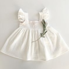 Liilu Pinafore Dress, Off White - shopminikin