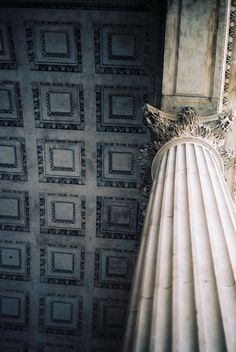 Neoclassical architecture. black and white. Corinthian columns and coffered ceiling