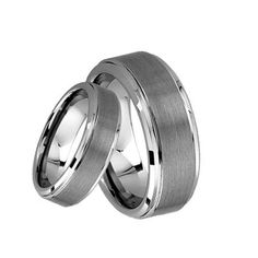His and Her's 8MM/6MM Brushed Center Step Edge Tungsten Carbide Wedding Band Ring Set ** Unbelievable  item right here! : Jewelry Bridal Sets