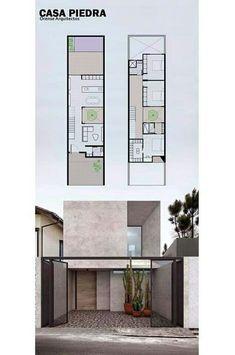 ideas exterior facade house floor plans for 2019 Modern house design - Any Narrow House Designs, Narrow House Plans, Small House Design, Modern House Plans, Modern House Design, House Floor Plans, House Arch Design, 3 Storey House Design, Modern Floor Plans