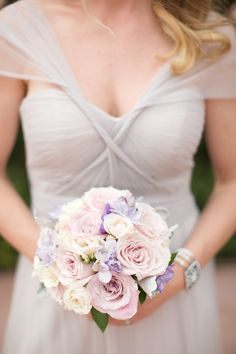 Lavender and purple chiffon for the bridesmaids and this blush and navy wedding.