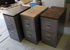 Refinished 2 drawer Metal Filing Cabinet w/ Solid Wood Top / industrial cabinet / metal filing cabinet / rustic office furniture / Hon