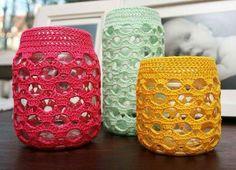 Frascos decorados crochet