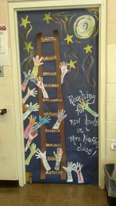 Beginning of the year door decor! Students decorated hands on the first day.