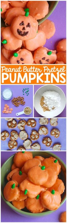 These Peanut Butter Pretzel Pumpkins are stuffed with peanut butter and dressed up as pumpkins just in time for Halloween!