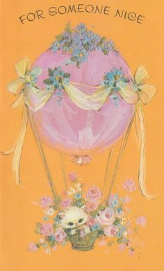 "vintage kitten greeting card ""For Someone Nice"" Old Greeting Cards, Old Cards, Vintage Wrapping Paper, Vintage Paper, Vintage Cartoon, Vintage Cat, Vintage Pictures, Vintage Images, Vintage Calendar"