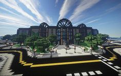 Modern – Mjolnir Mall Minecraft World Save Minecraft Video Games, All Minecraft, Minecraft Designs, Minecraft Creations, Minecraft Projects, Minecraft Ideas, Minecraft City Buildings, Modern Minecraft Houses, Minecraft Structures
