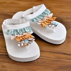 These were made for a 4 year old - but you could totally rock 'em.  Super simple Diy Ruffle Flip Flops. Full tutorial with pictures.