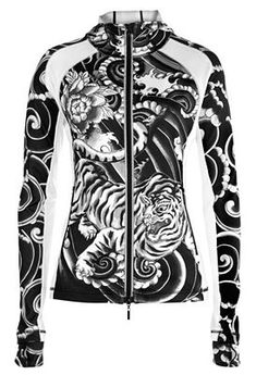 Black and White Fleece Sport Jersey with Asian Print - Performance Cycling and Workout Apparel by YMX