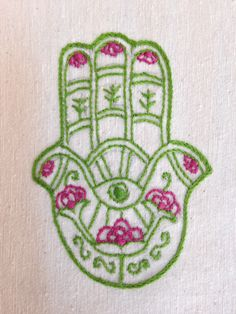 close up, hand-embroidered fuchsia, green hamsa flour sack dish towel 45 TL, 15 euro