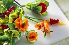 Vegetable Garnishes for Salads Food Garnishes, Royalty Free Photos, Cucumber, Zucchini, Carrots, Salads, Appetizers, Party, Vegetables