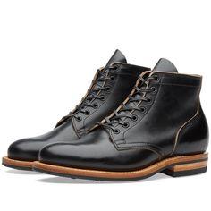 Viberg plain toe service boot in black chromexcel