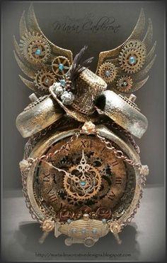 Musing of a witchy writer — karenholmeswriter: Reloj ¡Me encanta! Chat Steampunk, Corset Steampunk, Style Steampunk, Steampunk Crafts, Steampunk Clock, Steampunk House, Steampunk Design, Steampunk Fashion, Cyberpunk
