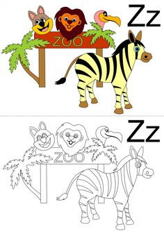 This is a letter 'z' coloring page featuring a zebra at the zoo. Get your child to practice their colors, and the 'z' sound by telling you what they see in the picture, then have them color their own. What other zoo animals does your child know? Alphabet Coloring Pages, Free Coloring Pages, Zoo Art, Zoo Animals, Zebras, Kids Learning, Worksheets, Activities For Kids, Lettering