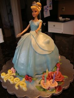Cinderella cake. They put the candles on the side of cake.