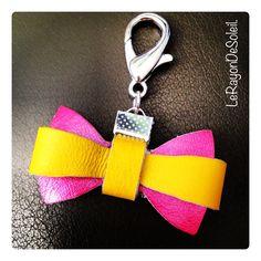 Leather charm ribbon.