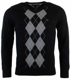 Tommy Hilfiger Mens Argyle V-Neck Pullover Sweater