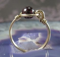 Wire Wrapped Ring Garnet and 14K Yellow Gold-Filled by holmescraft