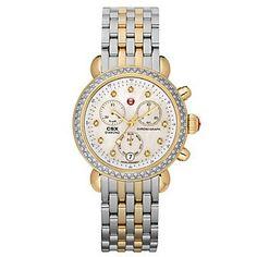 Michele Signature Two Tone #Diamond Bracelet Watch from Borsheims.