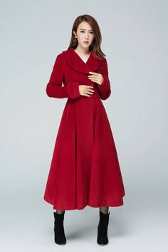 Red wool coat Princess coat winter coat red coat long wool coat fitted coat lapel coat pleated coat women coat handmade coat by xiaolizi Red Wool Coat, Long Wool Coat, Long Coats, Winter Coats Women, Coats For Women, Fit And Flare Coat, Winter Fashion Outfits, Fashion Prints, Sleeve Styles