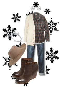 """""""Engagement Pictures - Waiting for Some Snow"""" by missdarlington on Polyvore featuring Quiksilver, Kork-Ease, Maje, Zimmermann, Winter, Boots, plaid, felthat and LLBean"""
