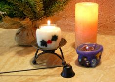 make wet felted candle holders