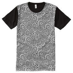 Black Lace Lacy-Look Design Full Panel Tee Shirt