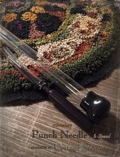 6 Strand Miniature Punch Embroidery Needle for sale. Includes easy threading instructions, basic punch needle instructions and a needle threader. Also includes a free pin pattern! This is a smaller punch needle measuring approx. 3.75 long from tip to end of handle. The