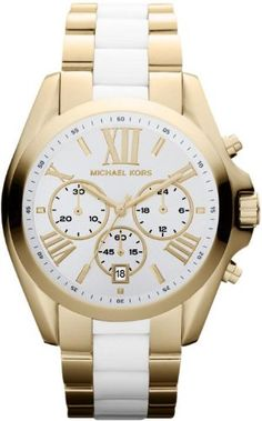 23% Off was $275.00, now is $212.76! Michael Kors Gold Tone White Chronograph Women's Watch - MK5743