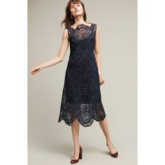Tracy Reese Barlion Lace Dress ($398) ❤ liked on Polyvore featuring dresses, navy, navy cocktail dress, tracy reese dress, lacy dress, lace midi dress and lace cocktail dress