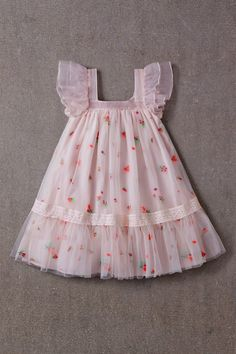 Nellystella Fiona Dress Spring Floral Tulle A beautiful dress for special . - Nellystella Fiona Dress Spring Floral Tulle A beautiful dress for special occasions by Nellystella - Frocks For Girls, Dresses Kids Girl, Kids Outfits, Flower Girl Dresses, Flower Girls, Cotton Frocks For Kids, Girls Dresses Sewing, Girls Spring Dresses, Baby Girl Skirts