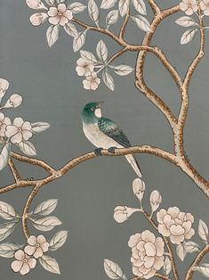 Hand Painted Wallpaper, Hand Painted Walls, Bird Wallpaper, Painting Wallpaper, Wall Murals, Wall Art, Chinoiserie Wallpaper, Art Japonais, Floral Nursery