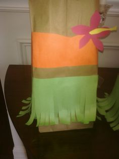 Hula skirt treat bags for Katie's Luau Party