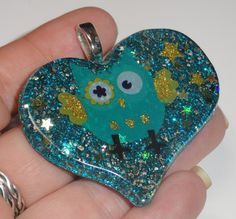 Teal and Gold glitter Owl Pendant