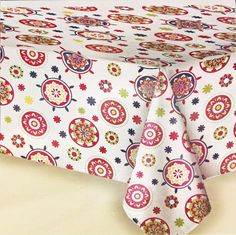 52x52 Vinyl Tablecloth Fresh Red Floral Medallions Peva Flannel Backed New #Unbranded