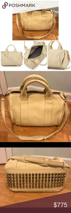 Authentic Alexander Wang Rocco Dumbo Slick Satchel Originally purchased from Neiman Marcus • This is the big bag, not mini • It is in excellent like new condition, it's only been used a few times • Color is described as Meringue, it's a cream off white color • Gold hardware, not silver • Still have original tags and dust bag • Screenshots taken from Neiman Marcus website for reference only • Open to reasonable offers Alexander Wang Bags Satchels