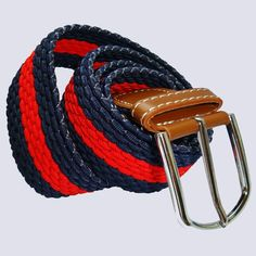 Buy|Bassin and Brown|Horizontal|Stripe|Elasticated|Woven|Belt|Red|Navy – Bassin And Brown Stretch Belt, Woven Belt, Brown Belt, Navy Color, Looking Stunning, Stripes Design, Woven Fabric, Brown And Grey, Belts