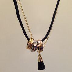 "✳️SALE✳️ Beads, Gold Chain & Velvet Rope Bracelet Gold chain and black velvet rope bracelet with 3 tone beads / black tassel   length 7"" extends to 9"" B Chic Jewelry Bracelets"
