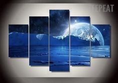 Iceberg In The Sea Painting - 5 Piece Canvas