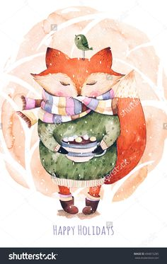 Cute Little Fox Just Like To Drink Hot Coffee.Watercolor Illustration.Fox And Bird In Watercolor.Perfect For Cristmas And Happy New Year Card,Greeting Card,Blog,Pattern,Tea Time,Invaitation,Baby Cards - 494815285 : Shutterstock