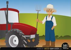 Farmer character with red tractor Free Vector